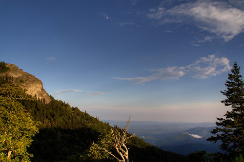 trees sunset moon fog clouds nc rocks northcarolina hdr blueridgeparkway devilscourthouse transylvaniacounty ncpedia
