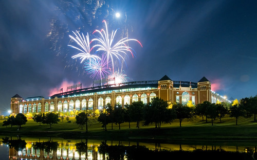 show blue red sky usa white lake reflection night arlington fire lights pond texas bright baseball fireworks stadium explosion arena works explosions rangers texasrangers mlb 840 ameriquestfield theballparkinarlington ballparkinarlington flickrsbest rangersballparkinarlington rangersballpark