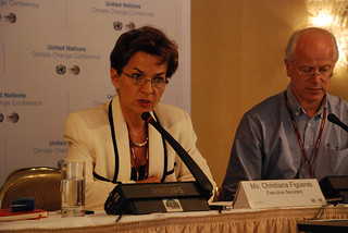 Christiana Figueres briefs the press on the final day of the UN Climate Change Conference in Bonn