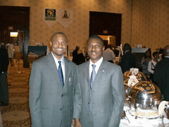Afripol's Emeka Chiakwelu (L) and Mr. Frank Nweke Nigerian Minister of Information and National