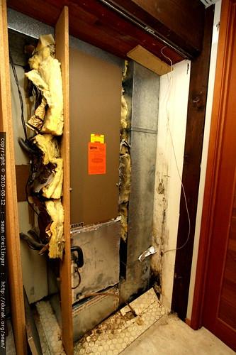investigating a water leak around the furnace / heat pump closet