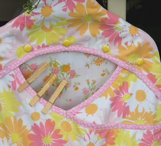 Clothespin Bag - Upcycled Pink and Yellow Pillowcase