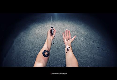 selfportrait photography aperture nikon sb600 tattoos fisheye f 105mm alienbees strobist b1600 travisyoungphotography
