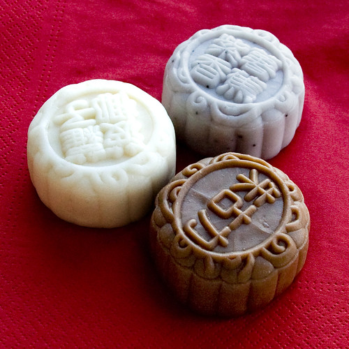 Snowy mooncakes - Sweet Potato and Banana, Sweet Osmanthus and Chestnut and Chocolate and Banana by Pondspider