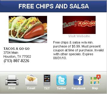 Special offers on chips and salsa coupons