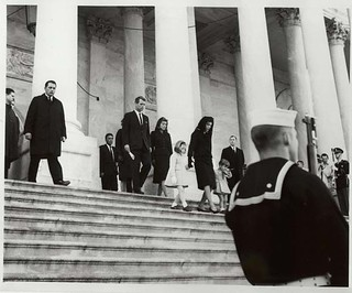 Photograph of the John F. Kennedy Family Members Leaving the Capitol Building, 11/24/1963.
