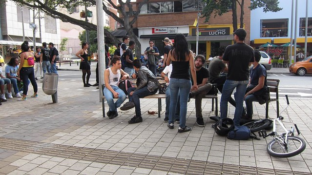Medellin punks hanging out near Libido.
