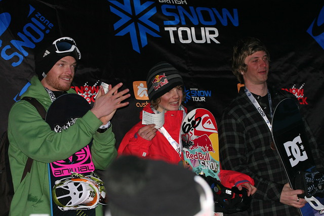 Snowboard Half Pipe winners presentation at The Brits 2010 at Laax, Switzerland