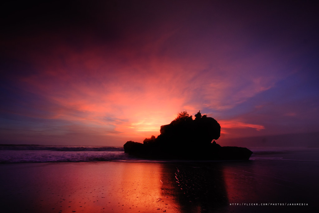 bali landscape image : sunset at yeh gangga beach