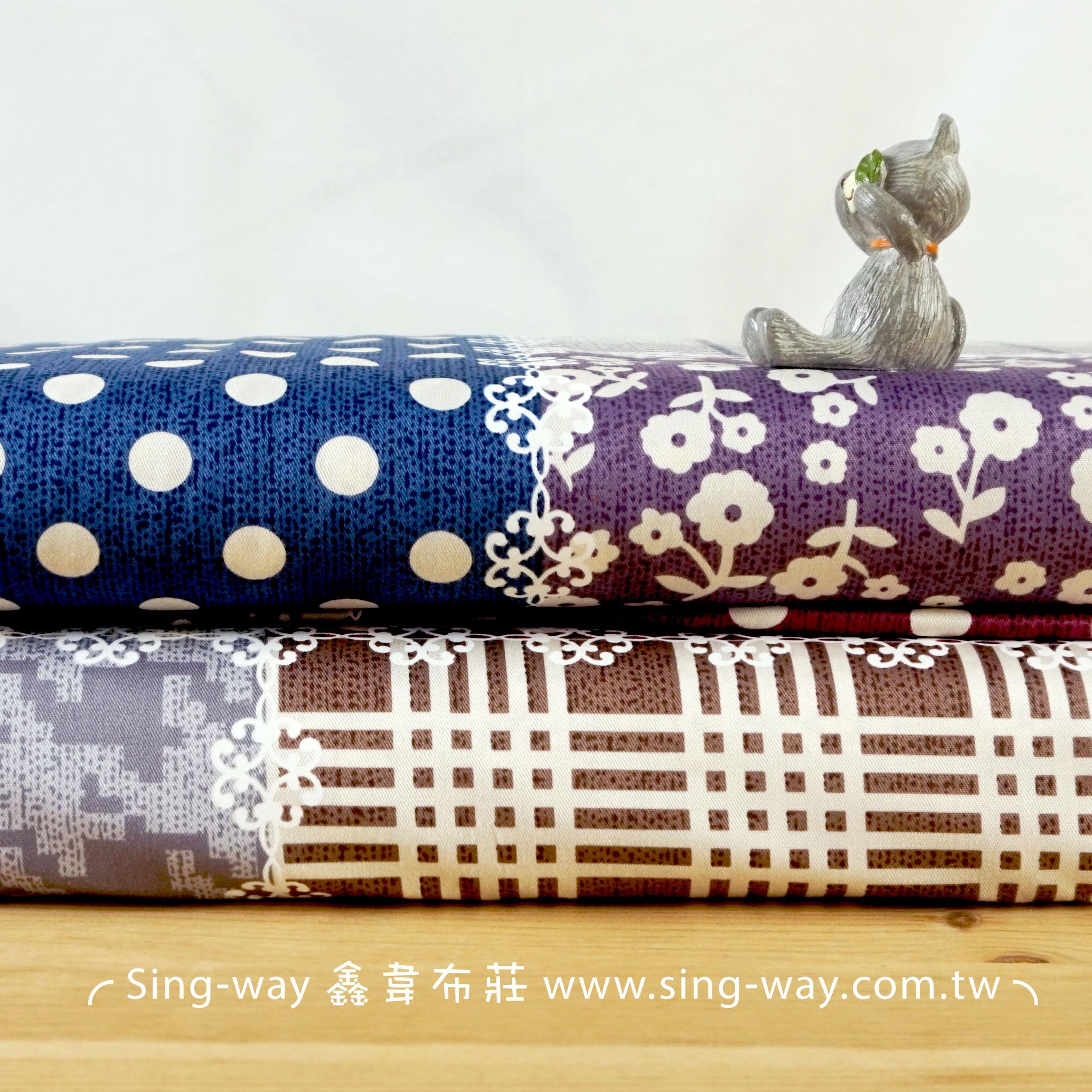 拼布方格 點點 水玉 碎花 格子 精梳棉床品床單布料 CA490363