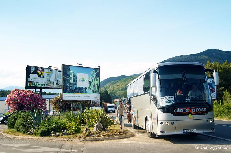 Автобус высаживает пассажиров возле аэропорта Тивата