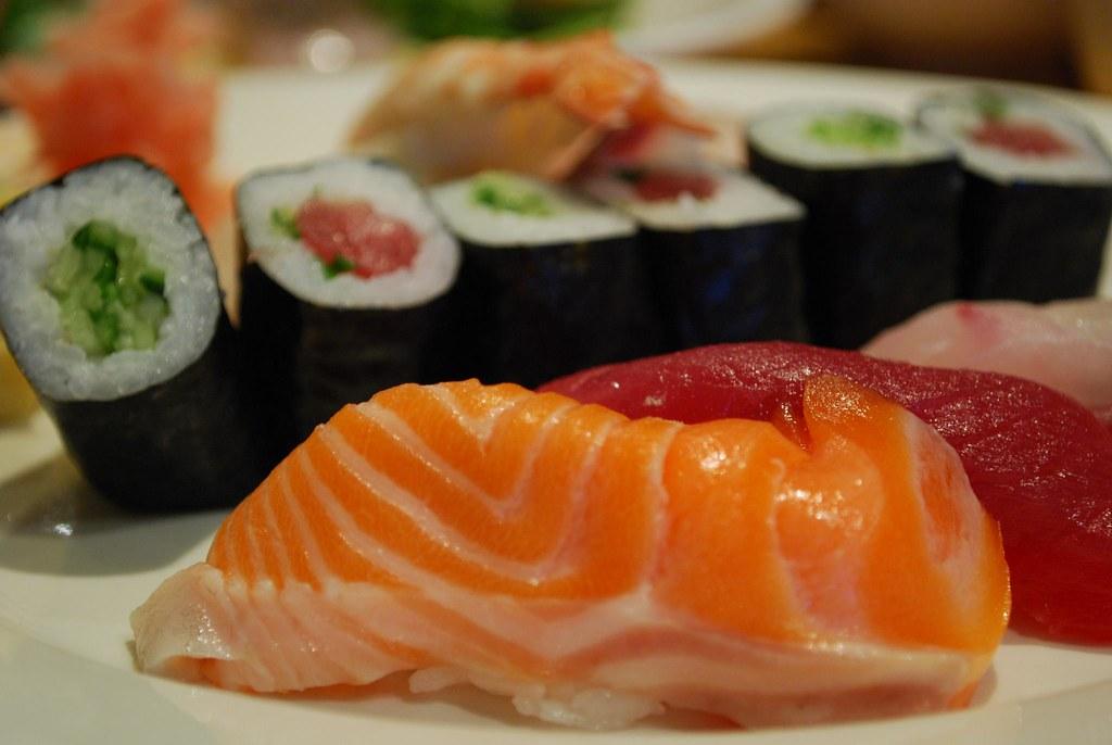 Salmon nigiri sushi - Shira Nui AUD18 special lunch set