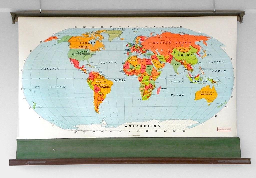 Vintage Randmark Iii World Map Classroom Pull Down Map Flickr
