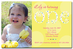TurningOneYellow - First Birthday Invitations