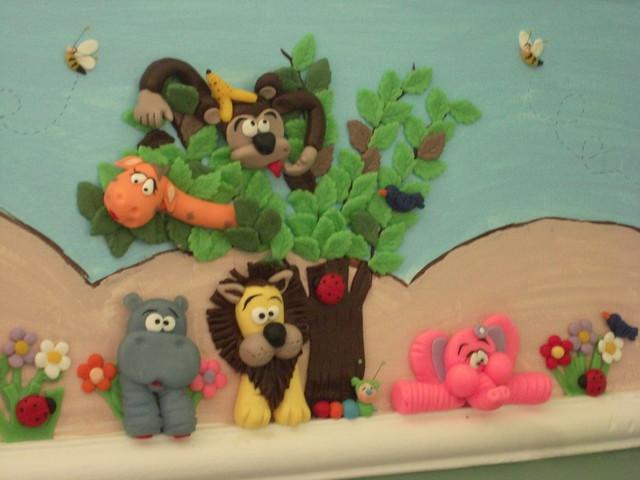 decoração Zoo safari Border de quarto infantil feito a mão em biscuit aplicad