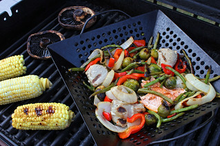 what i grilled tonight: mixed veggies tuna and salmon