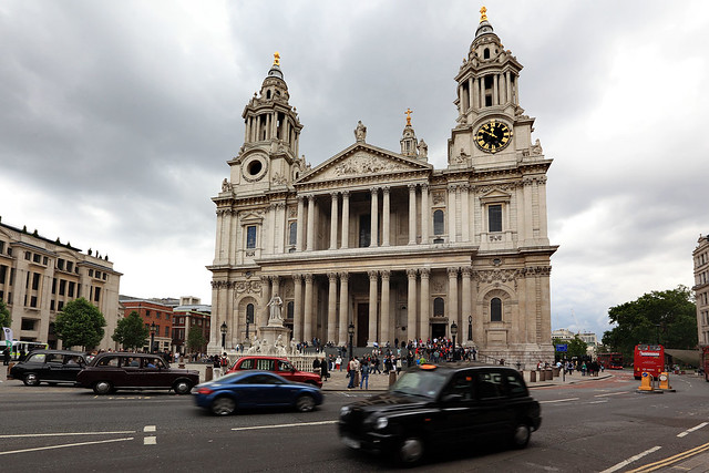 St Paul's with cab