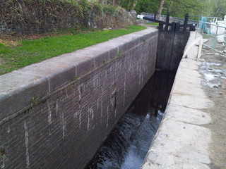 A lock on the Huddersfield Narrow Canal at Golcar, built 1901