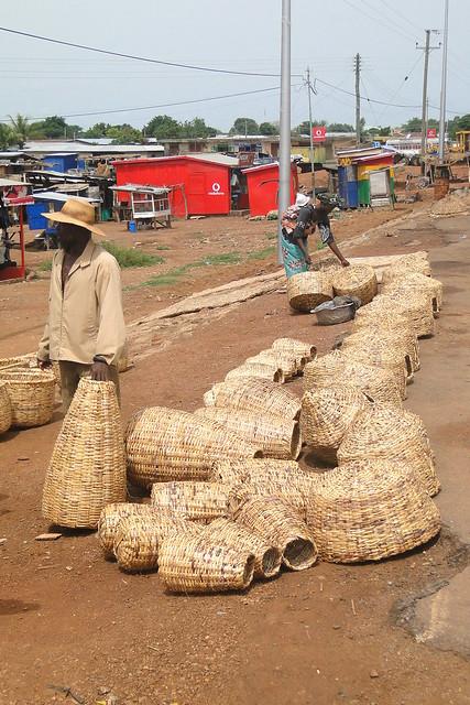 Baskets and Vendors at Roadside - Bolgatanga - Ghana