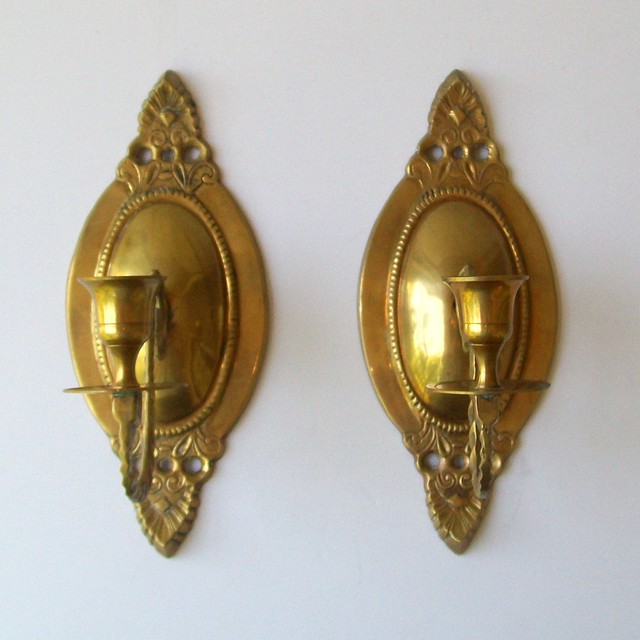 Wall Sconces Antique Brass : Vintage Ornate BRASS Wall Sconces Flickr - Photo Sharing!