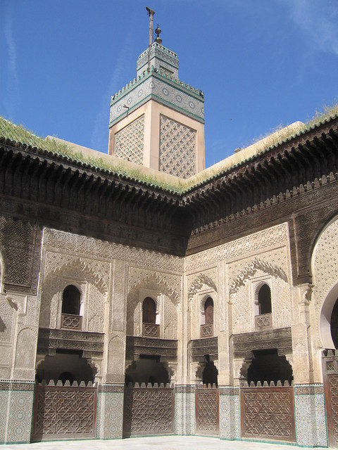 Minaret and a decorative corner of the Bou Inania Madrasa, Fez medina