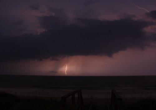 ocean longexposure sea vacation storm beach clouds nc waves northcarolina lightshow lightningstorm davidhopkinsphotography