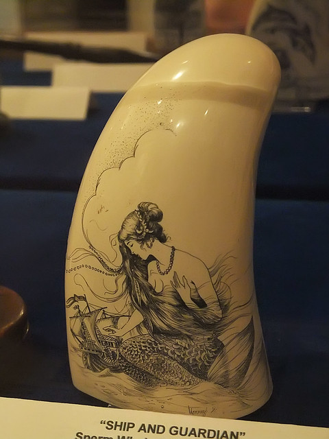 Sperm Whale Tooth Scrimshaw Depicting Ship And Guardian
