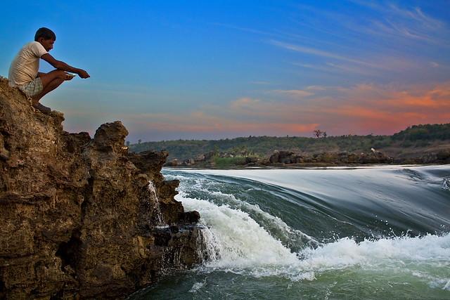 River Narmada at Lameta Ghat near Jabalpur, India.