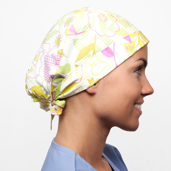 Colorful floral scrub hat