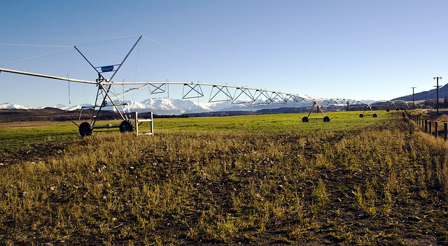 Giant Rotary Irrigation Scheme near Twizel, Mackenzie Country, South Island, New Zealand