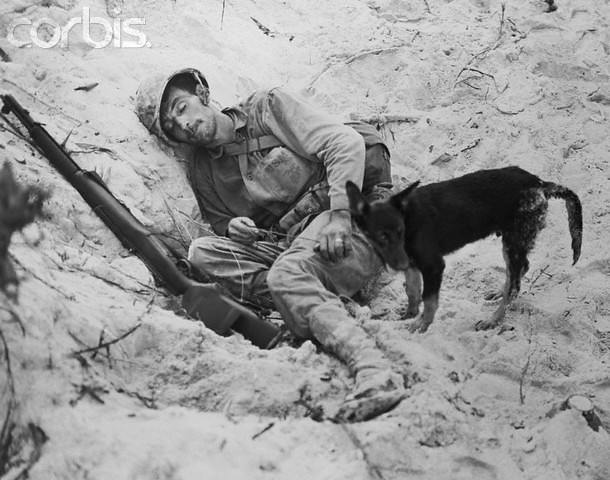Sleeping Soldier with Dog Standing Guard, Peleliu 1944