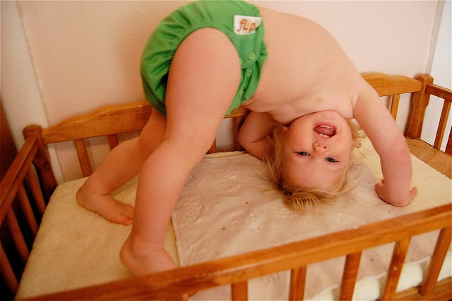 flipping over cloth diapers