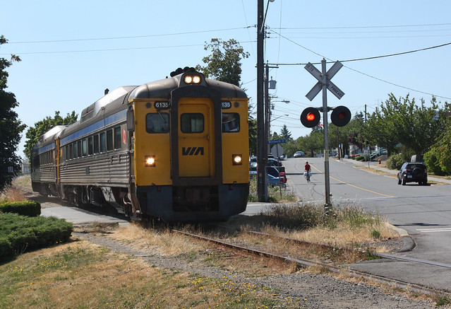 VIA Rail #6135, Victoria-Courtney RDC train, Nanaimo BC. July 26 2010.