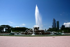 water feature, skyscraper, landmark, fountain, skyline, town square, city,