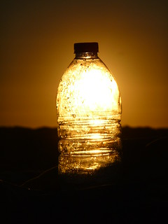 Image of Praia do Infante. sunset pet sun sol beach lumix bottle garrafa tz5 lumixdmctz5