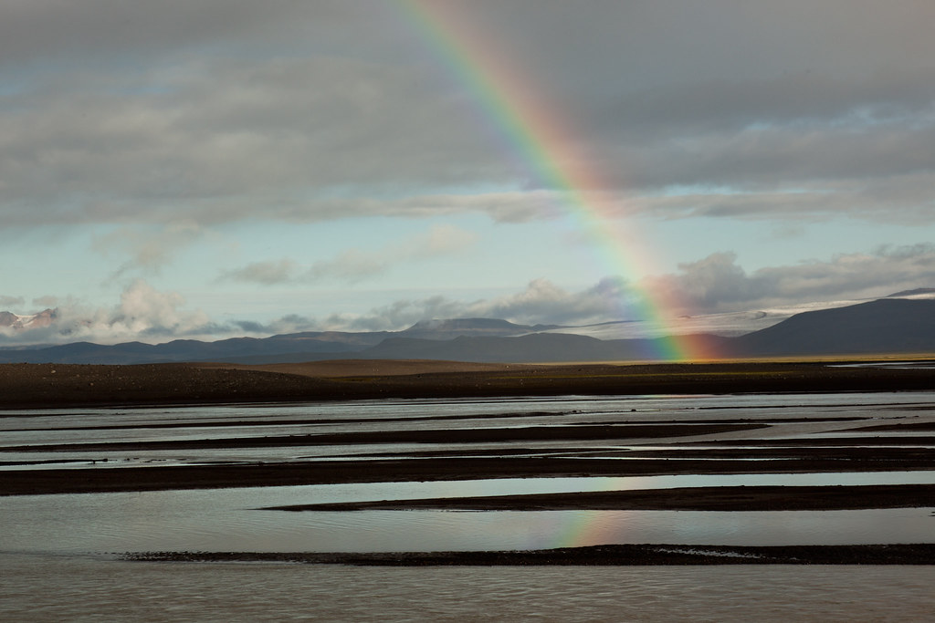 Rainbow, river, glacier