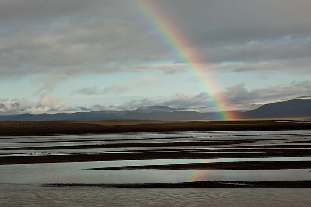 Rainbow, river, glacier