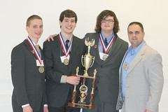 RIck, Ethan, and Brendan, celebrate a 2nd place win in Web Design at the BPA state competition with instructor, Mr. Gallagan