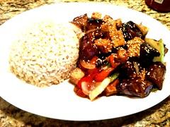 meal, meat, food, dish, cuisine, teriyaki,
