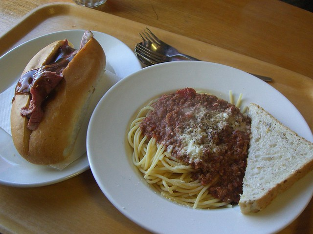 Spaghetti Bolognese AUD15, Hot Roast Beef Roll AUD10 - Kofflers Hutte
