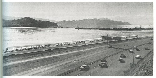 Northbound BART train in Marin County leaving Sausalito (February, 1961)