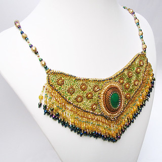 Bollywood Bib Necklace with Malachite