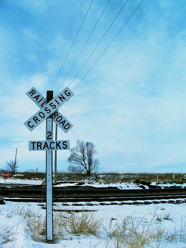 winter sign rural train track missouri