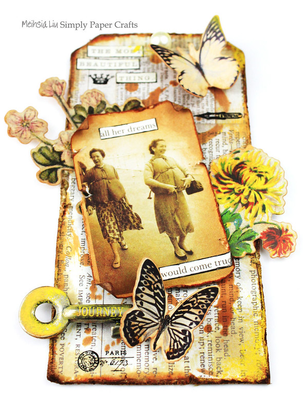 Meihsia Liu Simply Paper Crafts Miexed Media tag Distress Journey Simon Says Stamp Tim Holtz 1