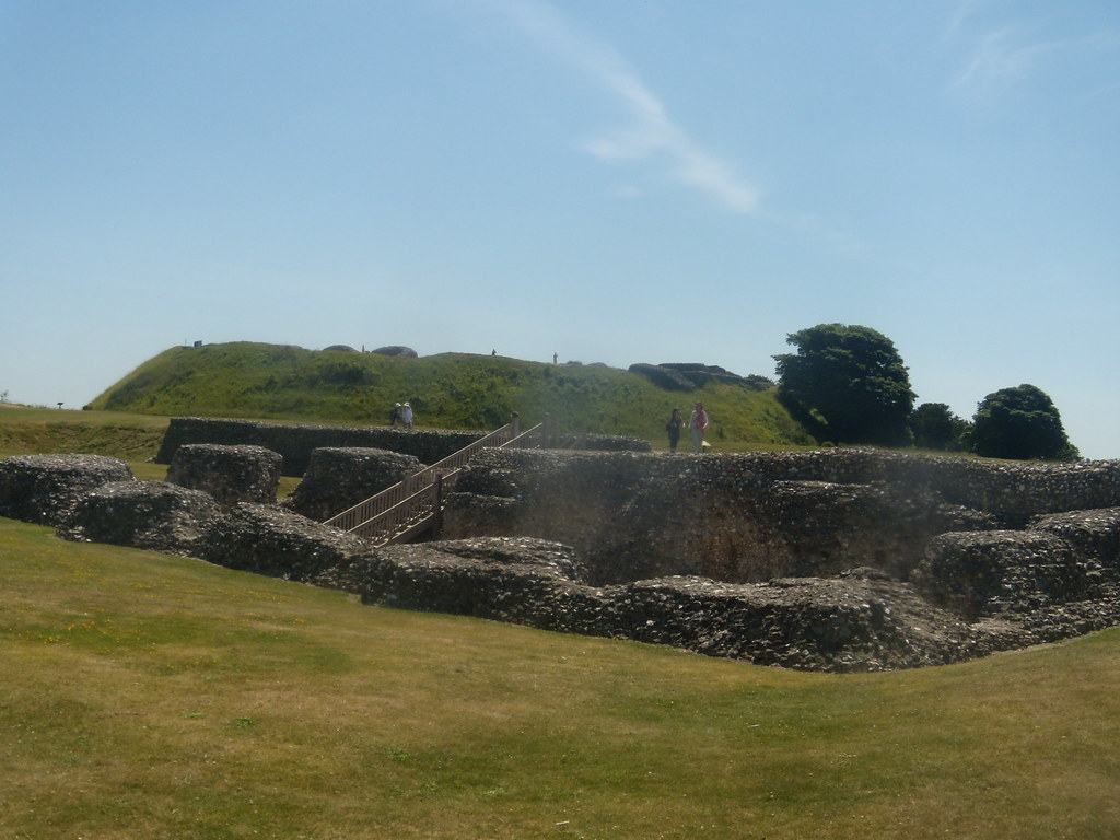 Old Sarum cathedral With Old Sarum walls behind. Salisbury to Stonehenge to Amesbury