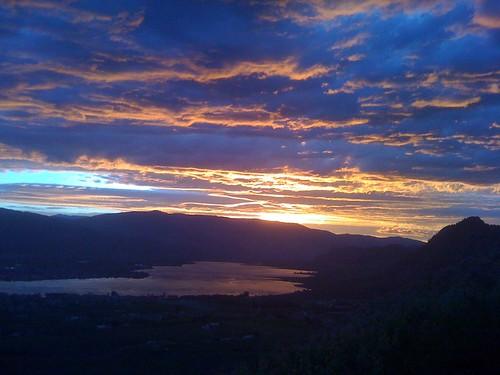 sunset lake clouds glow purple