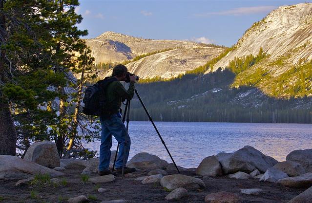 Michael Frye photographing at Tenaya Lake