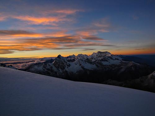 snow mountains peru nature sunrise climb scenery peak climbing blanca mountaineering summit andes range capped cordillera mountaineer ancash chopicalqui