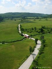 Red covered bridge - Kite Aerial Photography (KAP)