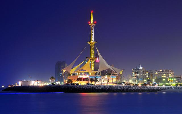 Kuwait - Marina Waves on Blue hour